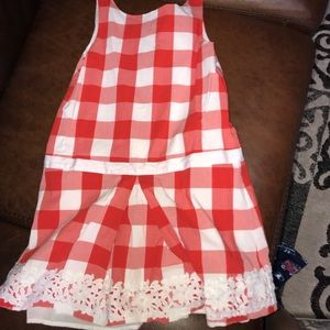 Janie and jack girls cotton checkered dress sz 10
